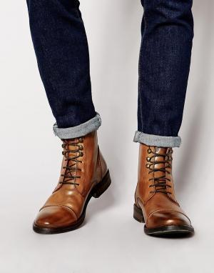 Base London Кожаные ботинки в стиле милитари Clapham. Цвет: коричневый