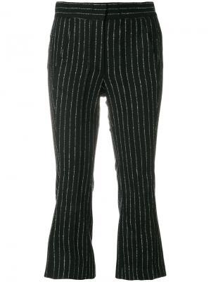 Укороченные брюки в полоску Hache. Цвет: чёрный
