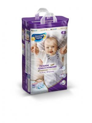 Нежное прикосновение подгузники для детей 4/L 7-14кг jambo-pack 44шт СОЛНЦЕ И ЛУНА. Цвет: индиго, светло-бежевый, светло-голубой