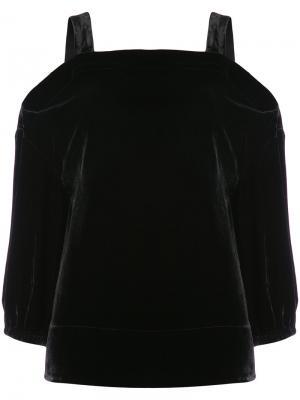 Бархатная туника с вырезами на плечах Tibi. Цвет: чёрный