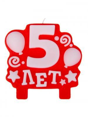 Свеча для торта, 5 лет А М Дизайн. Цвет: красный, белый