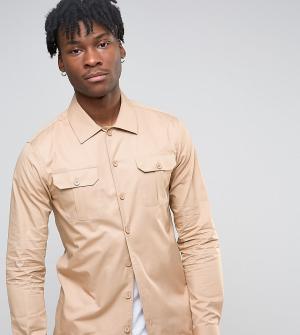 Noak Рубашка скинни в стиле милитари. Цвет: светло-серый