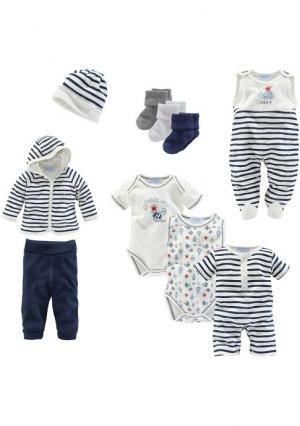 Комплект для новорожденного, 10 частей KLITZEKLEIN. Цвет: темно-синий/белый