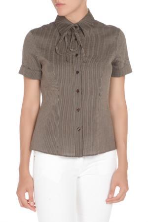 Полуприлегающая сорочка с короткими рукавами Max Mara. Цвет: черно-бежевый полоска