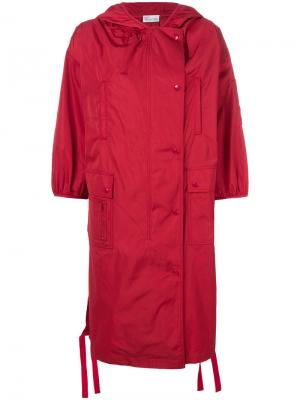 Пальто с капюшоном Red Valentino. Цвет: красный