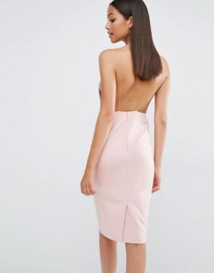 AQ Платье миди с открытой спиной AQ/AQ Cartney. Цвет: розовый