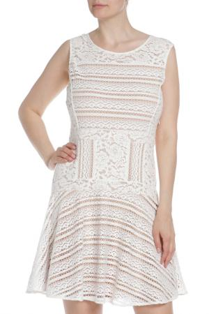Полуприлегающее платье из гипюра BCBG Max Azria. Цвет: белый
