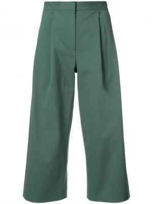 Укороченные широкие брюки Adam Lippes. Цвет: зелёный