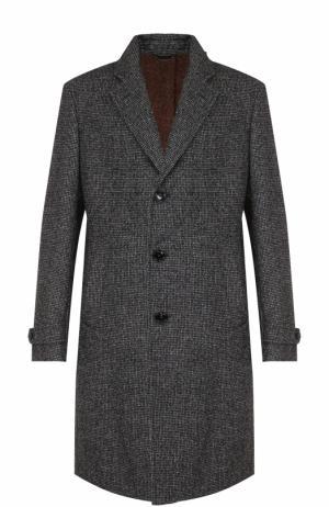 Шерстяное однобортное пальто Ermenegildo Zegna. Цвет: серый