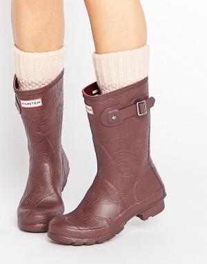 Hunter Короткие резиновые сапоги с волнообразной фактурой Original. Цвет: красный