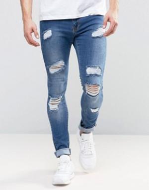 Brooklyn Supply Co. Выбеленные джинсы Co. Цвет: синий