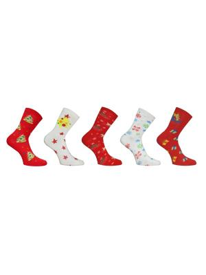 Носки 5 пар Master Socks. Цвет: красный, белый