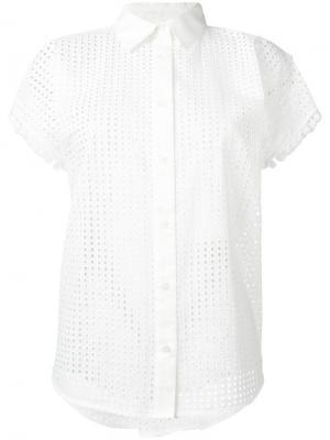 Перфорированная блузка с короткими рукавами Love Moschino. Цвет: белый