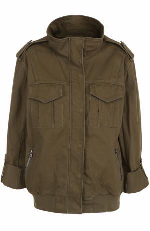 Куртка с вышивкой на спине Alice + Olivia. Цвет: хаки
