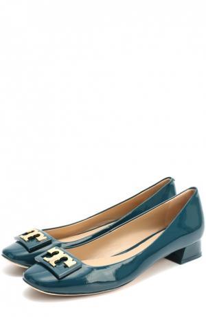 Лаковые туфли с пряжкой на низком каблуке Tory Burch. Цвет: темно-зеленый
