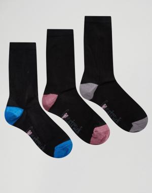 Lovestruck 3 пары однотонных носков с контрастным носком и пяткой. Цвет: черный