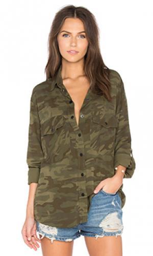 Рубашка в стиле бойфренд Sanctuary. Цвет: оливковый