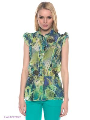 Блузка E.A.R.C.. Цвет: зеленый, синий