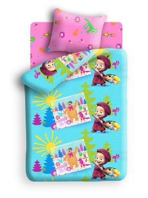 Комплект постельного белья Маша и медведь. Цвет: бирюзовый, розовый, салатовый