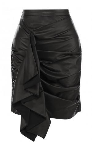 Однотонная кожаная мини-юбка с драпировкой DROMe. Цвет: черный