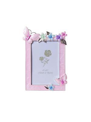 Фоторамка 10х15см бабочки металлическая со стразами PLATINUM quality. Цвет: розовый
