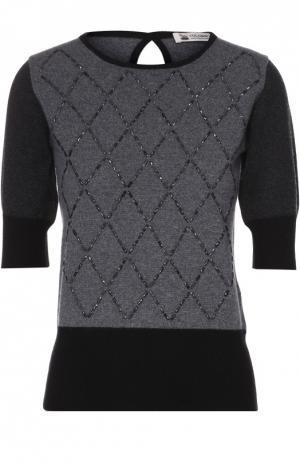 Кашемировый пуловер с круглым вырезом и контрастной отделкой Colombo. Цвет: серый