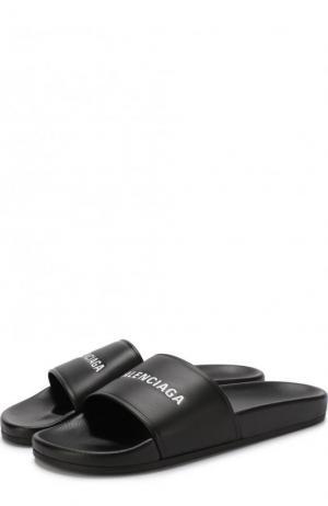 Кожаные шлепанцы с логотипом бренда Balenciaga. Цвет: черный