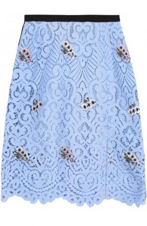 Кружевная мини-юбка с цветочной вышивкой Markus Lupfer. Цвет: голубой