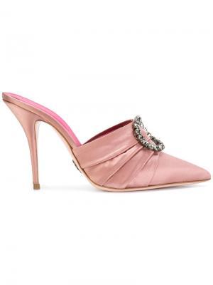 Декорированные атласные мюли Oscar Tiye. Цвет: розовый и фиолетовый