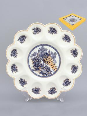 Тарелка для фаршированных яиц Павлин синий Elan Gallery. Цвет: белый, синий