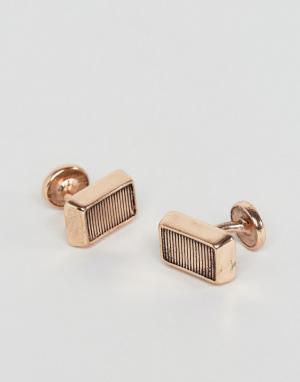 Icon Brand Золотисто-розовые прямоугольные запонки. Цвет: золотой