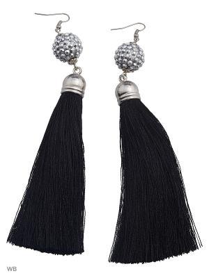Серьги-кисти ACCENT jewelry. Цвет: черный, серый