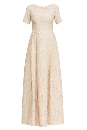 Платье из хлопка с шелком 162630 Izeta. Цвет: бежевый