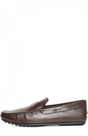 Кожаные мокасины с перемычкой Tod's. Цвет: коричневый