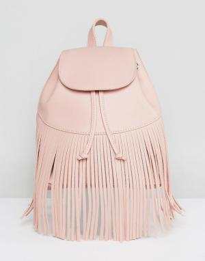 Skinnydip Рюкзак с бахромой. Цвет: розовый
