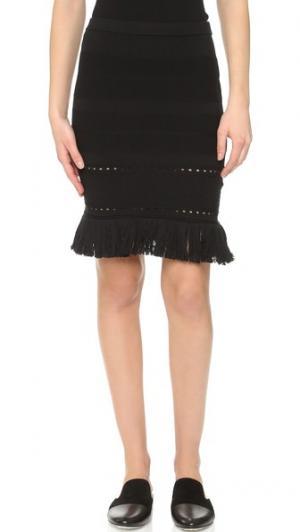 Трикотажная юбка с бахромой Timo Weiland. Цвет: голубой