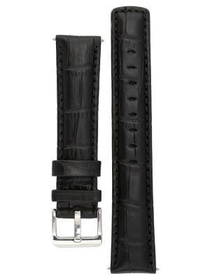 Водонепроницаемый ремешок для часов из кожи теленка с фактурой под аллигатора. Ширина от 18 до 24 мм Signature. Цвет: черный