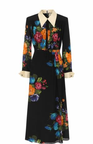 Шелковое приталенное платье-миди с цветочным принтом Gucci. Цвет: черный