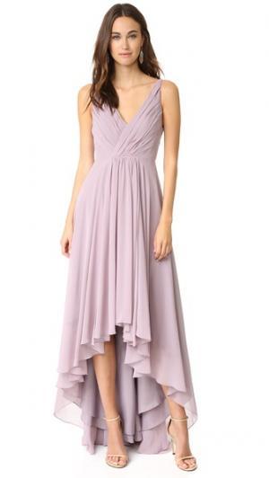 Асимметричное вечернее платье из шифона Monique Lhuillier Bridesmaids. Цвет: светло-сиреневый