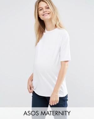 ASOS Maternity Футболка на одно плечо с вырезами для беременных. Цвет: белый