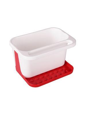Подставка для моющих средств (бело-красный) Альтернатива. Цвет: белый, красный