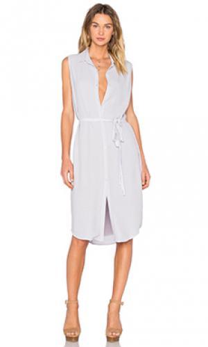 Платье с застёжкой на пуговицы MONROW. Цвет: серый