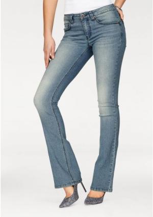 Моделирующие джинсы Arizona. Цвет: потертый, темно-синий потертый