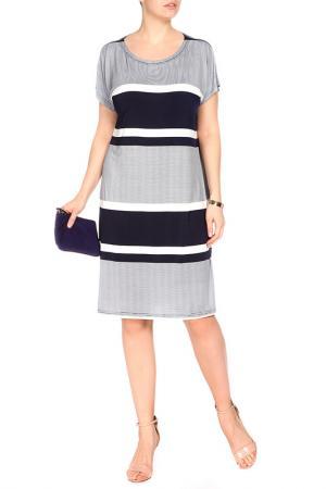 Платье FIRST. Цвет: темно-синий, белый