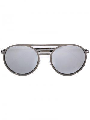 Солнцезащитные очки в круглой оправе с бриллиантами Christian Koban. Цвет: металлический