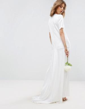 ASOS Платье-футболка макси с юбкой годе BRIDAL. Цвет: кремовый