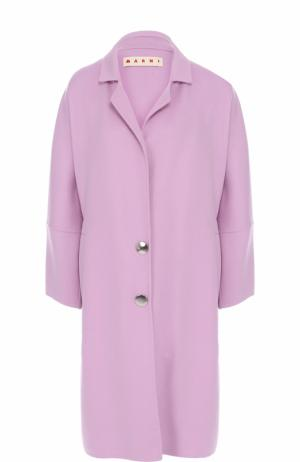 Шерстяное пальто свободного кроя Marni. Цвет: розовый
