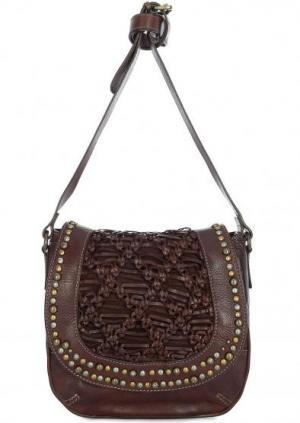 Кожаная сумка через плечо с плетением Taschendieb. Цвет: коричневый