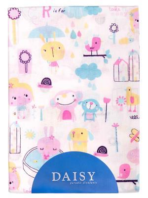 Пеленка Хлопок 90х150 см Девочки DAISY. Цвет: морская волна, малиновый, светло-оранжевый, бледно-розовый, белый