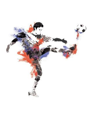 Наклейки для декора Футболист 1 ROOMMATES. Цвет: черный, оранжевый, желтый, белый, синий, зеленый, серый, голубой, красный